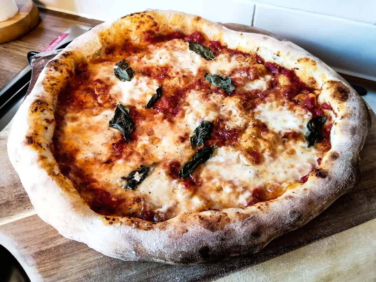 Neapolitan pizza cooked in oven