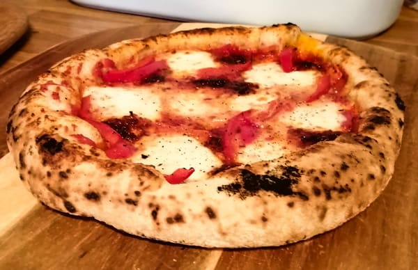 A perfect pizza, made by a baker's percentage recipe