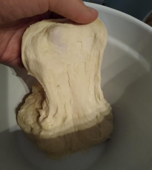 No knead Neapolitan pizza dough is stretchy