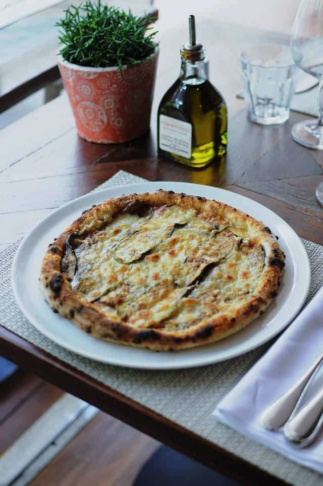 Neapolitan pizza in a posh restaurant