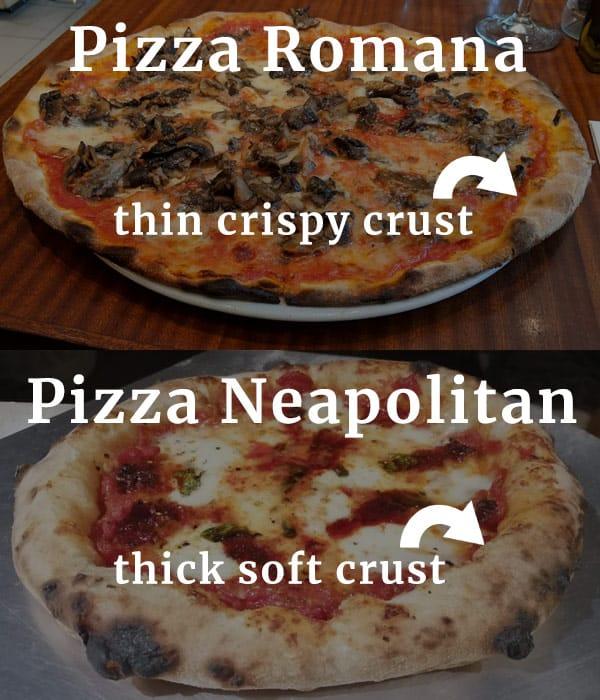 Romana style vs Neapolitan style pizza