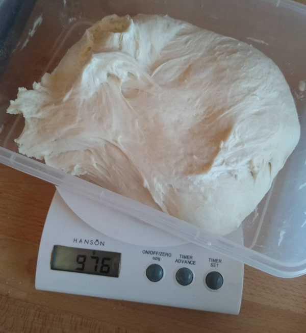 Old digital scales for mixing hand mixed pizza dough