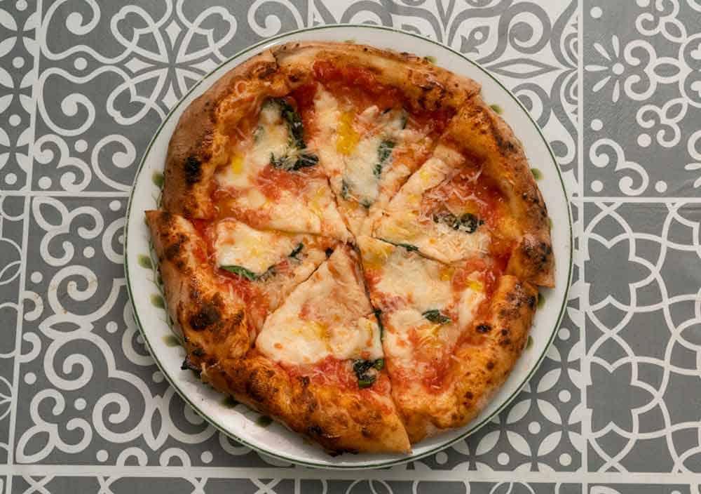 Sourdough pizza on plate